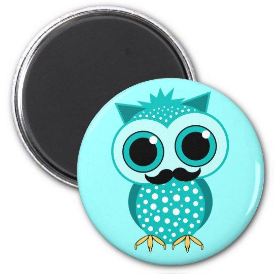 funny moustache owl magnet