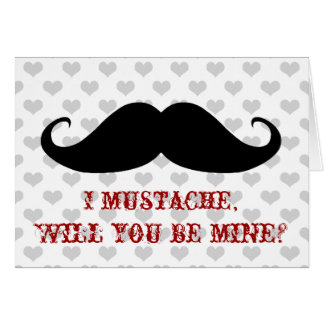 Funny moustache Valentine's Day hipster hearts Greeting Card