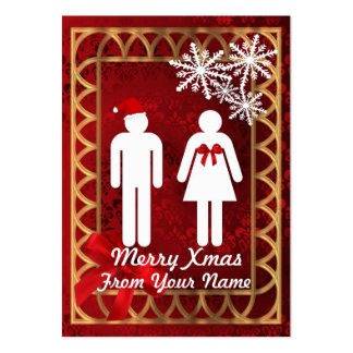 Funny Mr & Mrs  Santa personalized Christmas tag Large Business Cards (Pack Of 100)