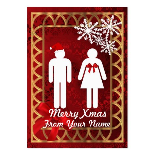Funny Mr & Mrs  Santa personalized Christmas tag Business Card Template