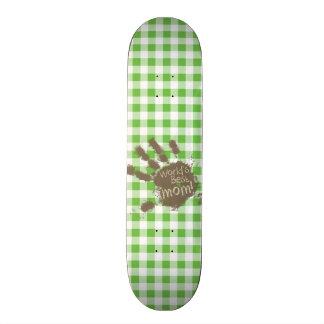 Funny Muddy hand print Green Checkered; Gingham Skate Decks