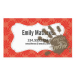 Funny Mum, Coral & Red Swirl Pack Of Standard Business Cards