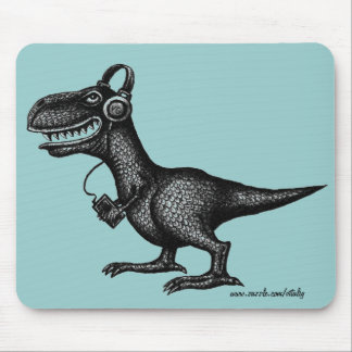 Funny music dinosaur pen ink drawing art mousepad