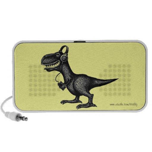 Funny music dinosaur pen ink drawing art travel speaker
