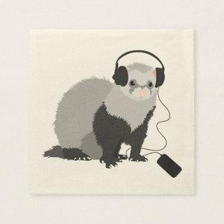 Funny Music Lover Ferret Disposable Serviette