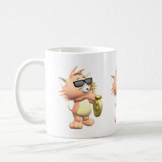 Funny Musical Cartoon Cat Mug Basic White Mug