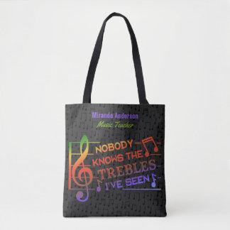 Funny Musicians Treble Pun Joke | Custom Name Tote Bag