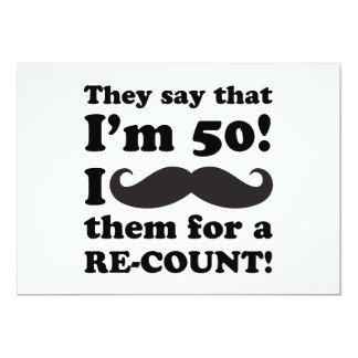 Funny Mustache 50th Birthday Personalized Invite