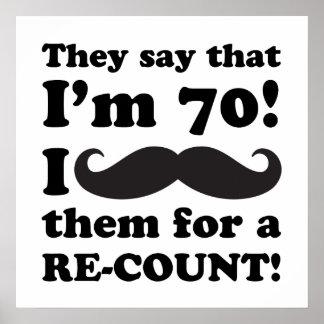 Funny Mustache 70th Birthday Poster