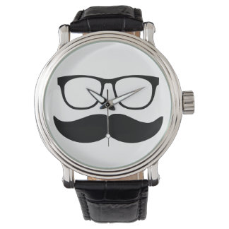 Funny Mustache and Glasses Face Watch