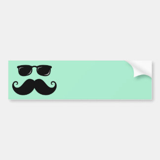 Funny mustache and sunglasses face mint green car bumper sticker