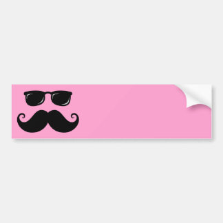 Funny mustache and sunglasses face on pink car bumper sticker
