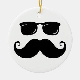 Funny mustache and sunglasses face round ceramic decoration