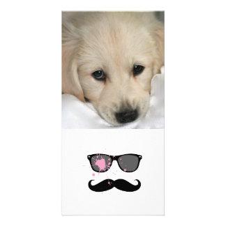 Funny Mustache and Sunglasses Custom Photo Card
