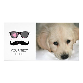 Funny Mustache and Sunglasses Photo Greeting Card