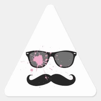 Funny Mustache and Sunglasses Triangle Sticker
