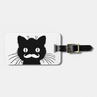 FUNNY MUSTACHE, BLACK CAT LUGGAGE TAG
