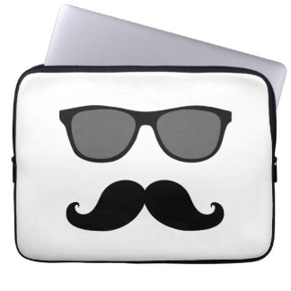 Funny Mustache, Black Sunglasses Laptop Sleeve