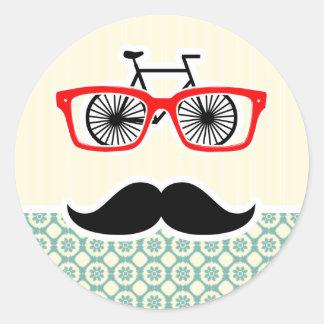 Funny Mustache; Blue-Green & Cream Round Sticker