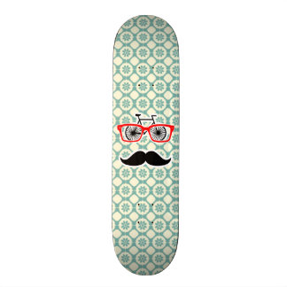 Funny Mustache; Blue-Green & Cream Custom Skate Board