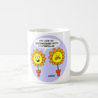 Funny Mustache Caterpillar and Flowers Cartoon Coffee Mug