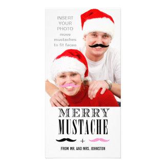 Funny Mustache Christmas Photo Card   Newlyweds