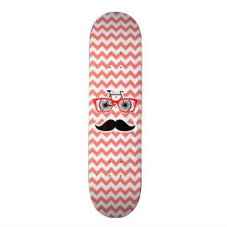 Funny Mustache; Coral Chevron Skateboards