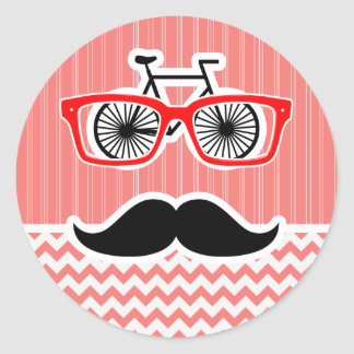 Funny Mustache; Coral Chevron Round Sticker