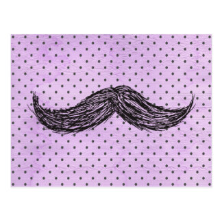 Funny   Mustache Drawing With Purple Polka Dots Postcard