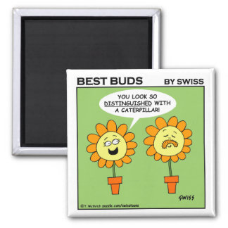 Funny Mustache Flower Cartoon Fridge Magnet