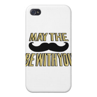 Funny Mustache- May the stache be with you Cover For iPhone 4