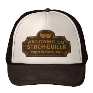 Funny Mustache Mo Welcome Sign Cap