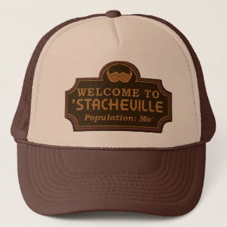 Funny Mustache Mo Welcome Sign Trucker Hat