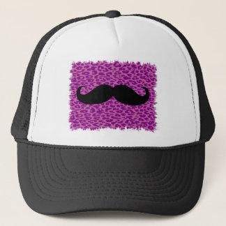 Funny Mustache on Leopard Print Trucker Hat