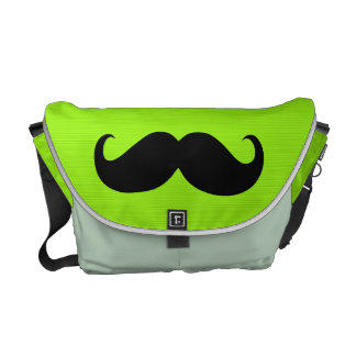 Funny Mustache on Yellow Green Background Messenger Bag