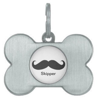 funny mustache pet name tag
