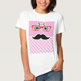 Funny Mustache; Pink Plaid; Checkered T-shirts