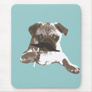 Funny Mustache Pug Mouse Pad