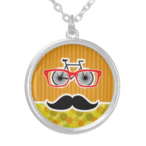 Funny Mustache; Retro Green & Orange Personalized Necklace