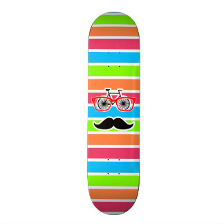 Funny Mustache; Retro Neon Rainbow 20.6 Cm Skateboard Deck
