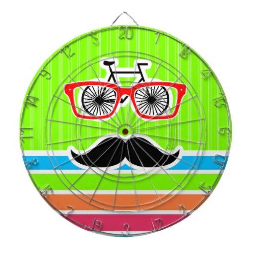 Funny Mustache; Retro Neon Rainbow Dartboards