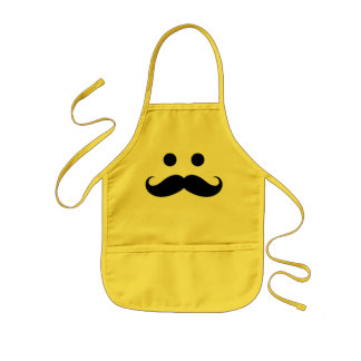Funny Mustache Smiley Face Kids Apron
