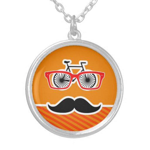 Funny Mustache with Orange Stripes Personalized Necklace