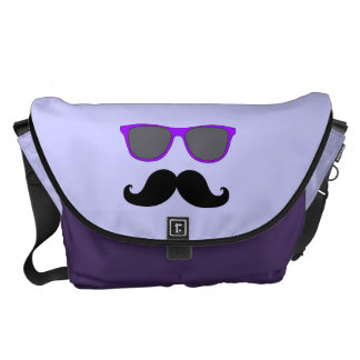 FUNNY MUSTACHE WITH PURPLE SUNGLASSES COURIER BAG