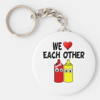 Funny Mustard Ketchup Couple Key Ring