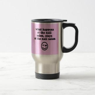 Funny nail salon stainless steel travel mug