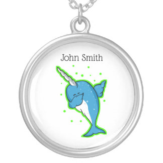Funny Narwhal Dabbing Silver Plated Necklace