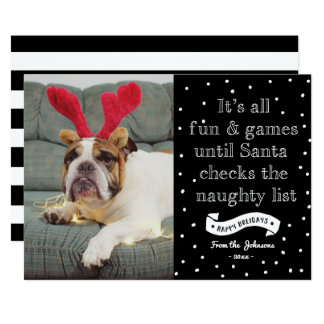 Funny Naughty List Holidays Photocard Card