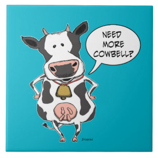 Funny Need More Cowbell Cow Large Square Tile