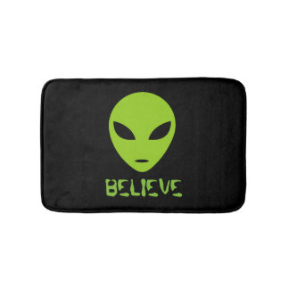 Funny neon green space alien black bath mat